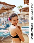 beautiful young woman in bikini ... | Shutterstock . vector #1089686540