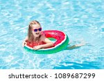 child with watermelon...   Shutterstock . vector #1089687299