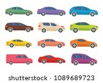 set of twelve multicolored cars ... | Shutterstock .eps vector #1089689723