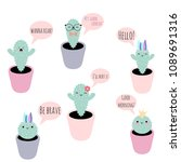 set of 6 vector potted plants... | Shutterstock .eps vector #1089691316