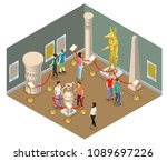 isometric museum hall concept... | Shutterstock .eps vector #1089697226
