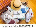woman staff in suitcase. travel ...   Shutterstock . vector #1089697919