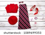 flat lay female stylish clothes ... | Shutterstock . vector #1089699353
