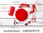 collage of female red fashion... | Shutterstock . vector #1089699479