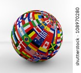 flag globe with different... | Shutterstock . vector #108970280
