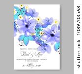 invitation or wedding card with ... | Shutterstock .eps vector #1089703568