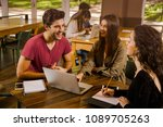 group of friends studying... | Shutterstock . vector #1089705263