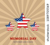 memorial day greeting card....   Shutterstock .eps vector #1089705569