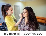 make up artist works with a... | Shutterstock . vector #1089707180