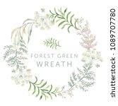 forest green leaves wreath.... | Shutterstock .eps vector #1089707780