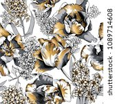 seamless floral gold and silver ... | Shutterstock .eps vector #1089714608