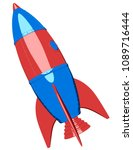 cartoon rocket on white...   Shutterstock . vector #1089716444