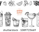 alcoholic cocktails hand drawn... | Shutterstock .eps vector #1089725669