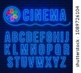 cinema neon signboard and blue... | Shutterstock .eps vector #1089726104