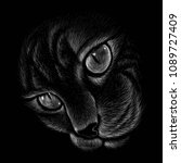 the vector logo cat for tattoo... | Shutterstock .eps vector #1089727409