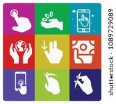 filled set of 9 hand icons such ... | Shutterstock .eps vector #1089729089