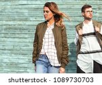 fashion couple in glasses with... | Shutterstock . vector #1089730703