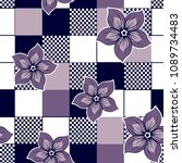 flower pattern with squared...   Shutterstock .eps vector #1089734483