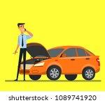 breakdown of the car on the...   Shutterstock .eps vector #1089741920