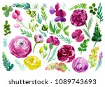 set  of abstract flowers roses  ... | Shutterstock . vector #1089743693