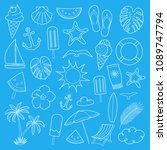 summer icons on blue background ... | Shutterstock .eps vector #1089747794