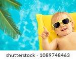 funny baby boy on summer... | Shutterstock . vector #1089748463