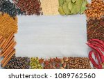 various aromatic indian spices... | Shutterstock . vector #1089762560
