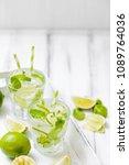 summer refreshing cocktail... | Shutterstock . vector #1089764036