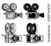 retro video cameras hand drawn... | Shutterstock .eps vector #1089769619