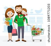 young family dad  mom and... | Shutterstock .eps vector #1089771203