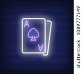 blackjack cards neon sign... | Shutterstock .eps vector #1089777149