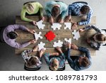 business people and puzzle on... | Shutterstock . vector #1089781793