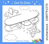 drawing worksheets. dot to dots ... | Shutterstock .eps vector #1089791570