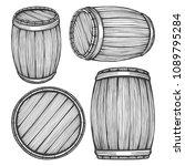 wooden barrels vector hand... | Shutterstock .eps vector #1089795284