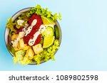 vegan buddha bowl with beetroot ... | Shutterstock . vector #1089802598