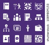 set of 16 business filled icons ...