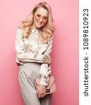 beautiful blond woman in a... | Shutterstock . vector #1089810923