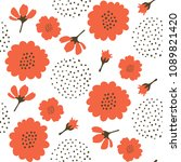 seamless pattern with red... | Shutterstock .eps vector #1089821420