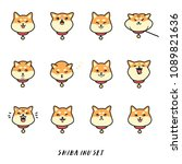 cute shiba inu  head  emotions...   Shutterstock .eps vector #1089821636