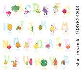cute cartoon live fruits and... | Shutterstock .eps vector #1089824303