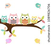 four owls on a branch with birds | Shutterstock .eps vector #1089826706