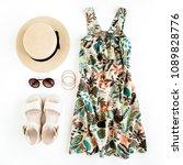 woman summer clothes travel ... | Shutterstock . vector #1089828776