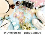 traveler accessories on map... | Shutterstock . vector #1089828806