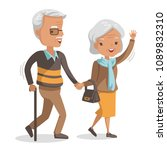 older couples. walking hand in... | Shutterstock .eps vector #1089832310