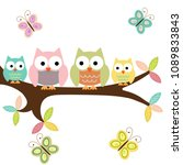 four owls on a branch with... | Shutterstock .eps vector #1089833843