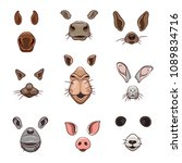 a set of animal face elements.... | Shutterstock .eps vector #1089834716