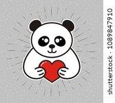 bear with heart vector sketch... | Shutterstock .eps vector #1089847910