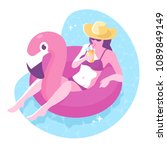 beautiful girl in hat with... | Shutterstock .eps vector #1089849149