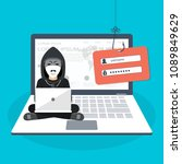 hacking phishing attack. hacker ... | Shutterstock .eps vector #1089849629