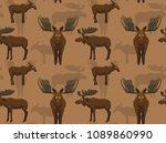 cute moose background seamless... | Shutterstock .eps vector #1089860990
